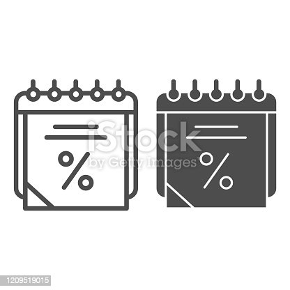 istock Sales calendar line and glyph icon. Data discount vector illustration isolated on white. Agenda outline style design, designed for web and app. Eps 10. 1209519015