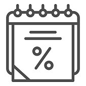 istock Sales calendar line icon. Data discount vector illustration isolated on white. Agenda outline style design, designed for web and app. Eps 10. 1209523855