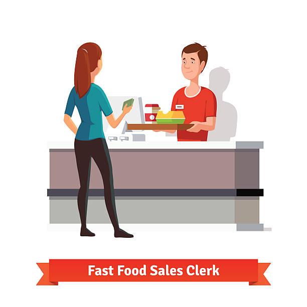 illustrazioni stock, clip art, cartoni animati e icone di tendenza di assistente alle vendite di consegnare vassoio di una donna cliente - banchi scuola