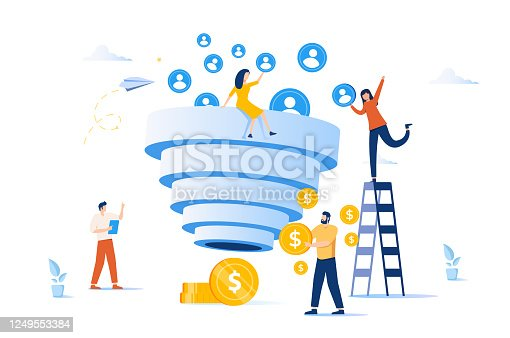 istock Sales funnel and lead generation. Marketing strategy. Sales pipeline management, representation of sales prospects 1249553384