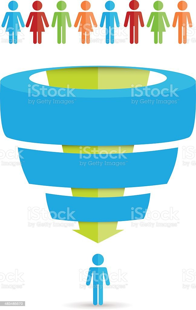 Sales Funnel Chart vector art illustration