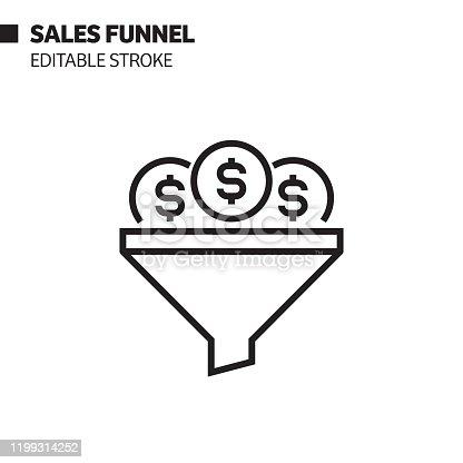 Sales Funnel Line Icon, Outline Vector Symbol Illustration. Pixel Perfect, Editable Stroke.