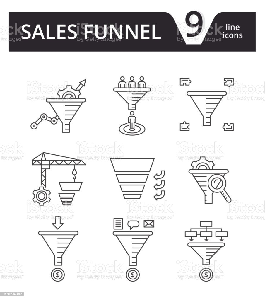 Sales Funnel - thin line icons vector set. Internet marketing strategy concept. vector art illustration
