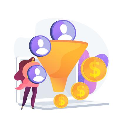 Sales funnel vector concept metaphor.