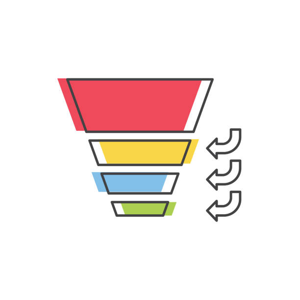 Sales Funnel with stages of the sales process. Vector isolated line icon. Internet marketing concept. Sales Funnel with 4 stages of the sales process. Vector isolated line icon. Internet marketing concept. sales occupation stock illustrations