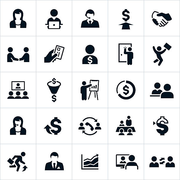 Sales Icons Icons associated with the sales profession. The icons include sales people, selling activities, selling methods and others. sales occupation stock illustrations