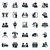 A set of icons related to the sales profession. The set includes several different salesmen in different situations.