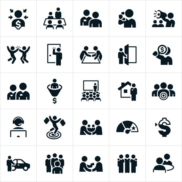 Sales Icons A set of icons related to the sales profession. The set includes several different salesmen in different situations. car salesperson stock illustrations