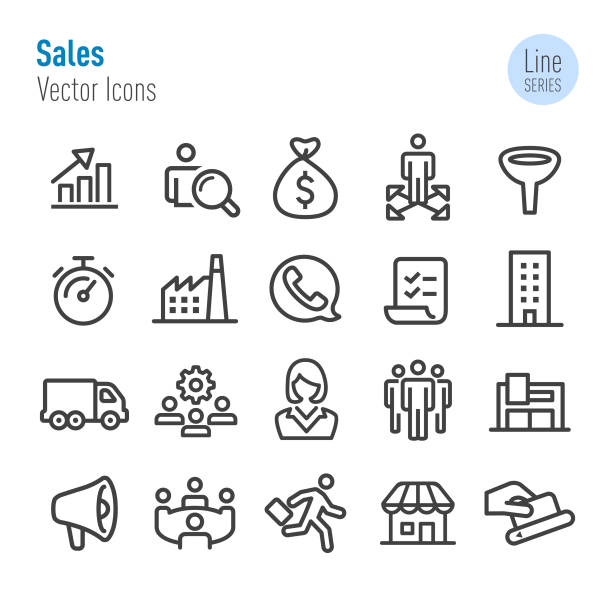 sales icons - vector line series - part of a series stock illustrations