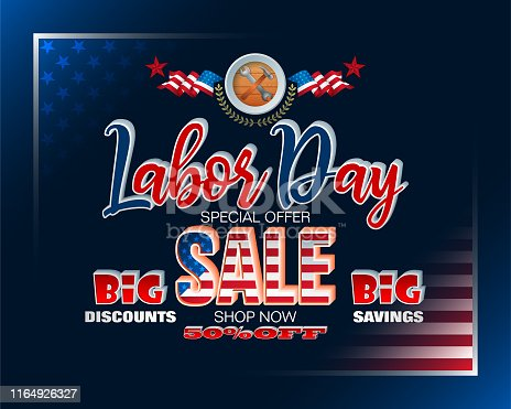 Holidays, design background with 3d texts and national flag colors for American, Labor day, sales, commercial event; Vector illustration