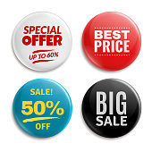 Sales pin badges. Circled badging button, 3d glossy price tag. Big sale, best price and special offer vector badges
