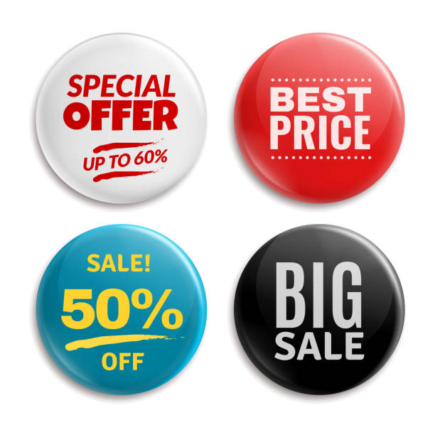 plakietki pinów sprzedaży. zakreślony przycisk badging, 3d błyszczący tag cena. duża wyprzedaż, najlepsza cena i zestaw wektorów odznaki oferty specjalnej - przypinka stock illustrations