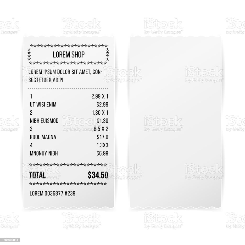 Sales Printed Receipt White Paper Blank Vector. Shop Reciept Or Bill  Isolated On White Background  Bill Receipt