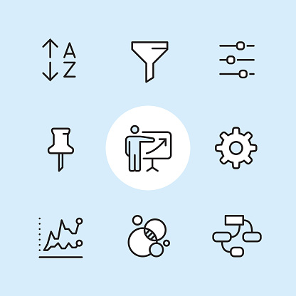 Sales report / 9 Outline style Pixel Perfect icons / Set #42  CONTENT BY ROWS 1 - Alphabetical Sort icon, Filter icon, Adjusting sliders; 2 - Paper pin, Sales occupation, Gear settings icon; 3 - Two Line graph, Bubble chart, Mind map (organization chart).  Pixel Perfect Principle - all the icons are designed in 64x64px grid, outline stroke 2px. Complete