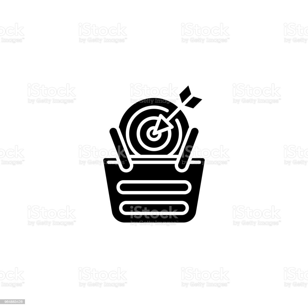 Sales target black icon concept. Sales target flat  vector symbol, sign, illustration. royalty-free sales target black icon concept sales target flat vector symbol sign illustration stock vector art & more images of accuracy