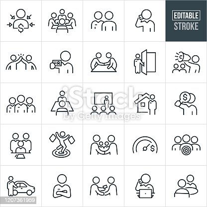 A set of sales icons that include editable strokes or outlines using the EPS vector file. The icons include sales people, salesmen, customer, client, sales presentation, salesman meeting customer, salesman on phone, high five, salesman giving business card, salesman shaking hands with client, salesman holding door open, salesman with bullhorn, sales team, sales person with client, real estate agent, salesman signing contract, shopper shopping, car salesman, salesman with arms folded and other related icons.