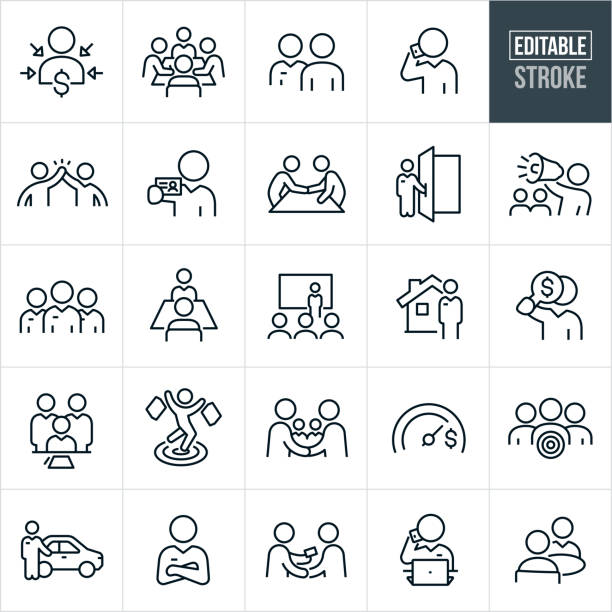 Sales Thin Line Icons - Editable Stroke A set of sales icons that include editable strokes or outlines using the EPS vector file. The icons include sales people, salesmen, customer, client, sales presentation, salesman meeting customer, salesman on phone, high five, salesman giving business card, salesman shaking hands with client, salesman holding door open, salesman with bullhorn, sales team, sales person with client, real estate agent, salesman signing contract, shopper shopping, car salesman, salesman with arms folded and other related icons. sales occupation stock illustrations