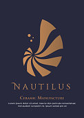 Vector illustration with seashell nautilus. Object for your logo / card / flyer. Ceramic manufacture logo design