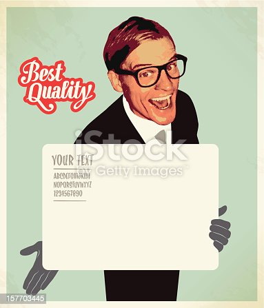 istock salesman blank sign 157703445