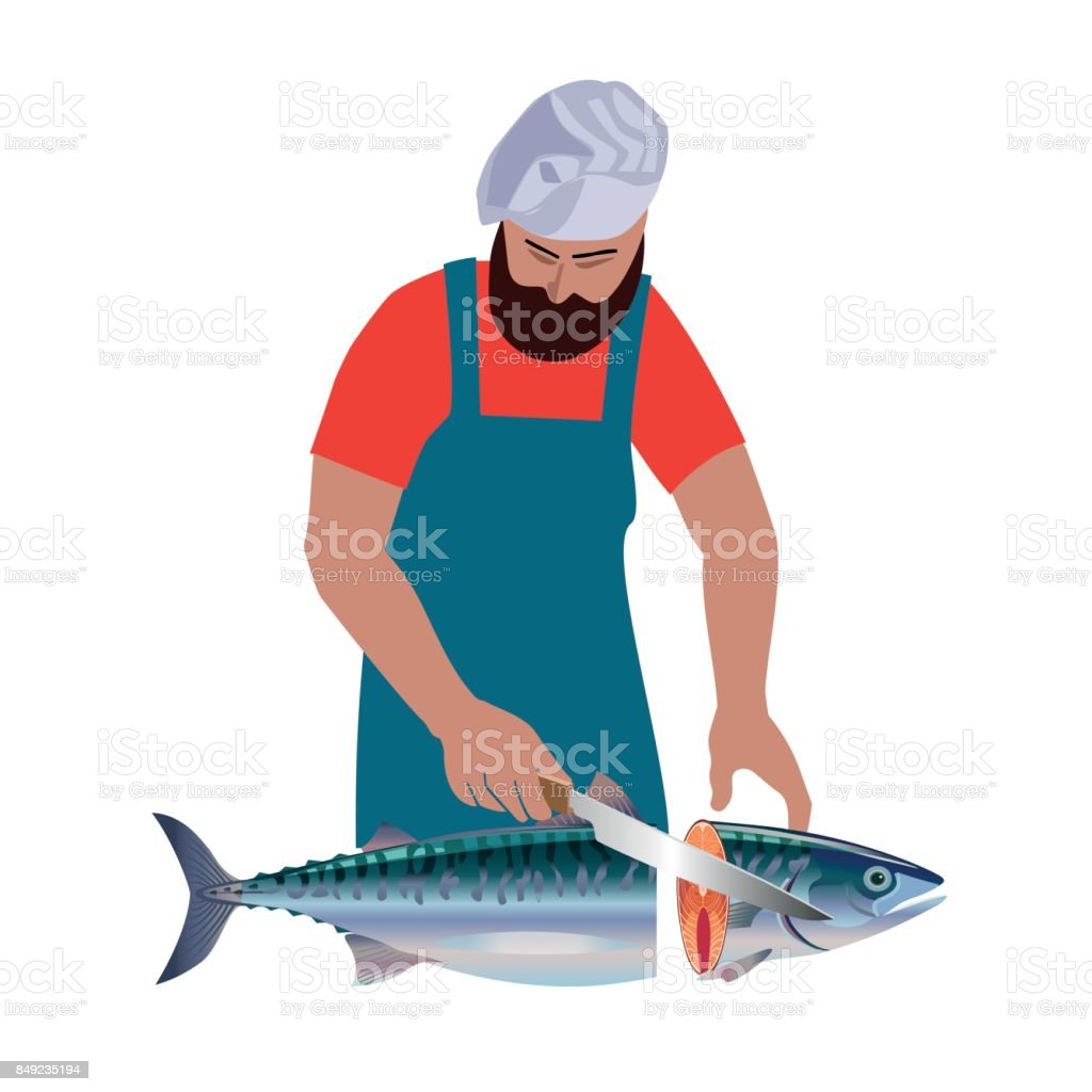 Salesman is cutting fish vector art illustration