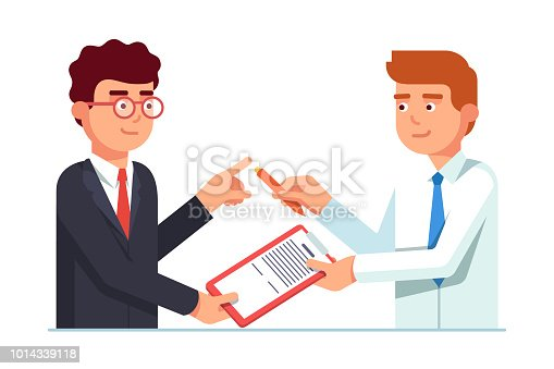 Salesman passing contract document with pen to his client business man for signature. Closing deal successfully. Flat style vector illustration isolated on white background