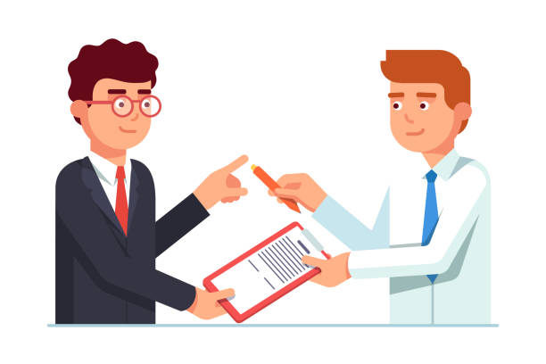 Salesman passing contract document to his client. Flat vector clipart illustration Salesman passing contract document with pen to his client business man for signature. Closing deal successfully. Flat style vector illustration isolated on white background passing giving stock illustrations