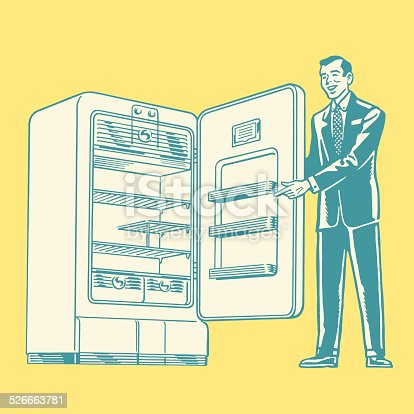 Salesman Showing a Refrigerator