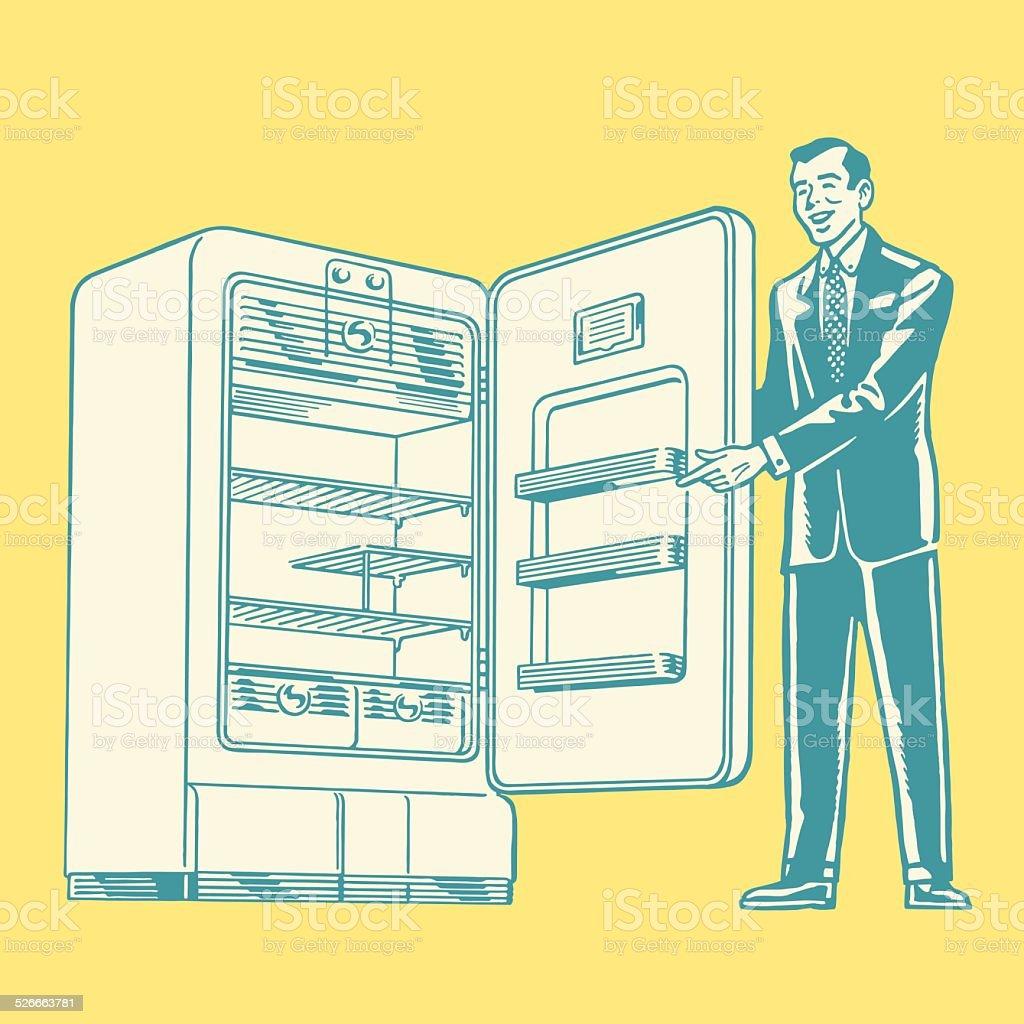 Salesman Showing a Refrigerator vector art illustration