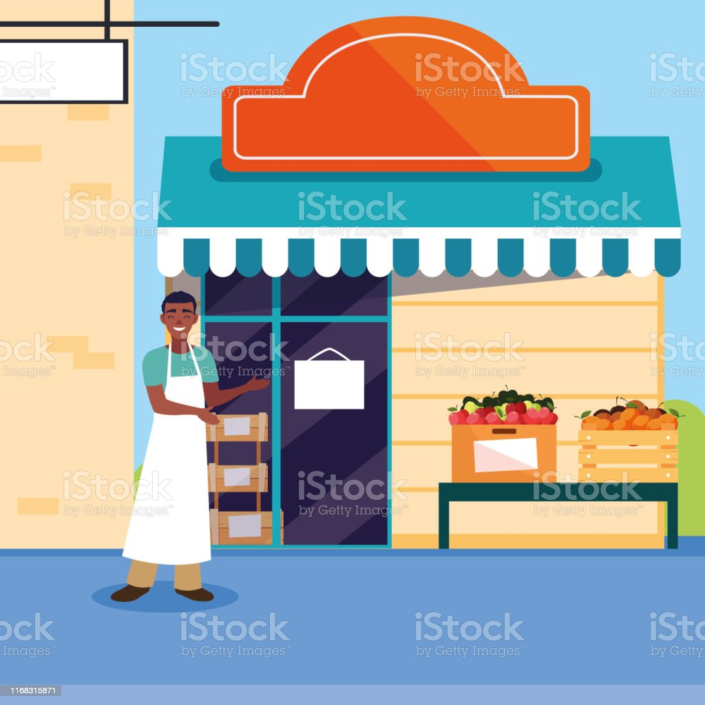 salesman with fruits store facade building vector illustration design