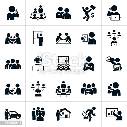 A set of 25 salesman. The salesman are depicted in different sales related situations and include a salesman talking on the phone, presenting in a board meeting, selling face to face, working at the computer, making a deal with a handshake, a door to door salesman, a salesman holding a signed contract, a sales team, a salesman wearing a headset, presenting to a large group of people, standing with arms folded, using a bullhorn to spread a sales pitch, giving a business card to a potential client, a car salesman, a real estate agent and a salesman presenting a sales report to name just a few.