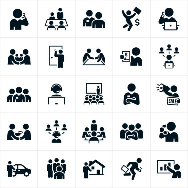 Salesmen Icons A set of 25 salesman. The salesman are depicted in different sales related situations and include a salesman talking on the phone, presenting in a board meeting, selling face to face, working at the computer, making a deal with a handshake, a door to door salesman, a salesman holding a signed contract, a sales team, a salesman wearing a headset, presenting to a large group of people, standing with arms folded, using a bullhorn to spread a sales pitch, giving a business card to a potential client, a car salesman, a real estate agent and a salesman presenting a sales report to name just a few. seller stock illustrations