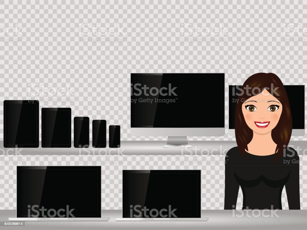 Salesperson at supermarket, selling computer, smartphone, laptop, tablet. Sales technology devices. - arte vettoriale royalty-free di Adulto