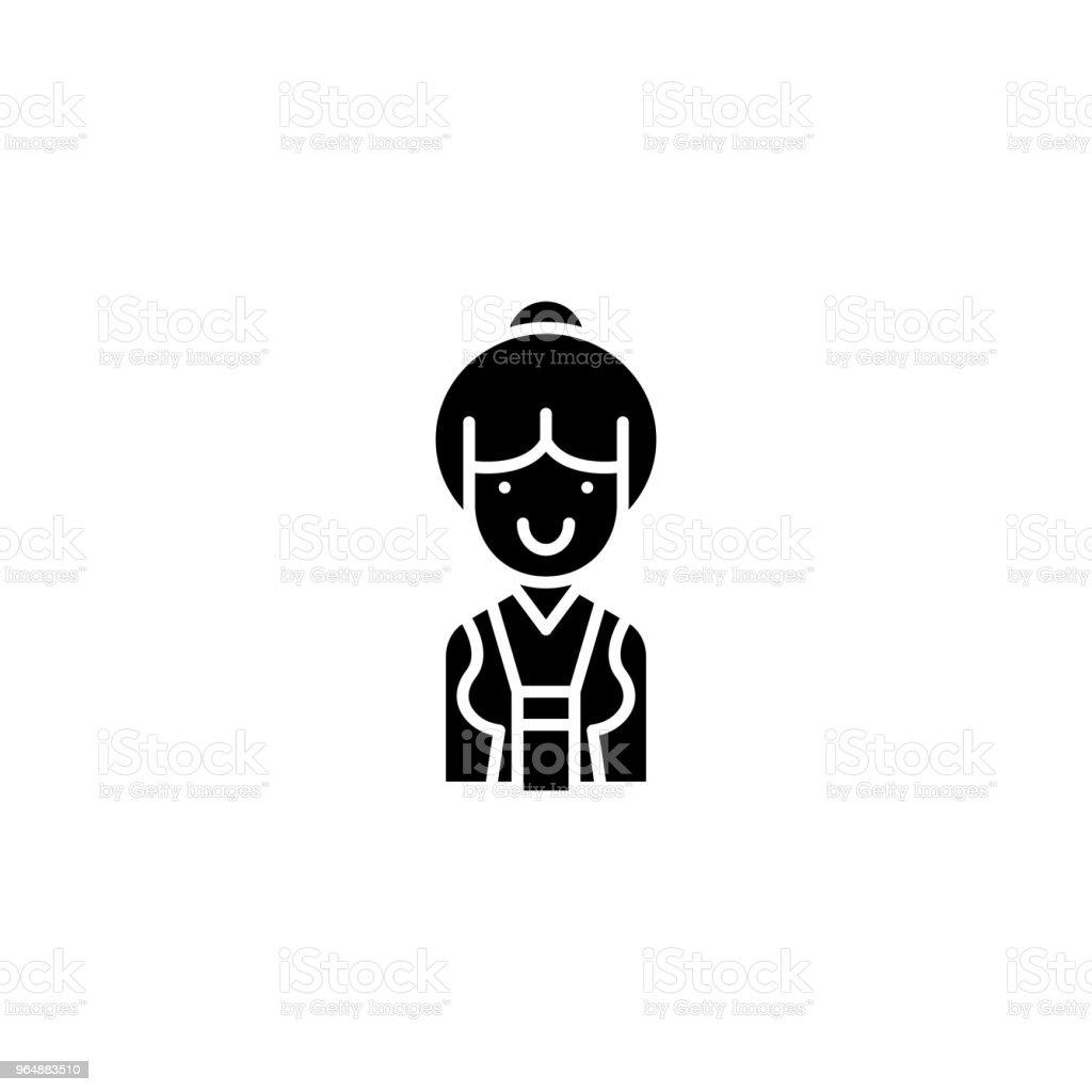Saleswoman black icon concept. Saleswoman flat  vector symbol, sign, illustration. royalty-free saleswoman black icon concept saleswoman flat vector symbol sign illustration stock vector art & more images of adult