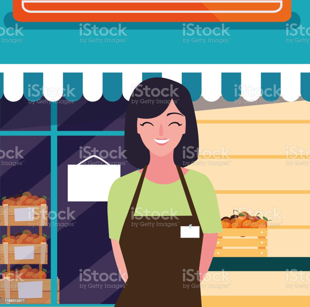 saleswoman with fresh fruits store facade building vector...