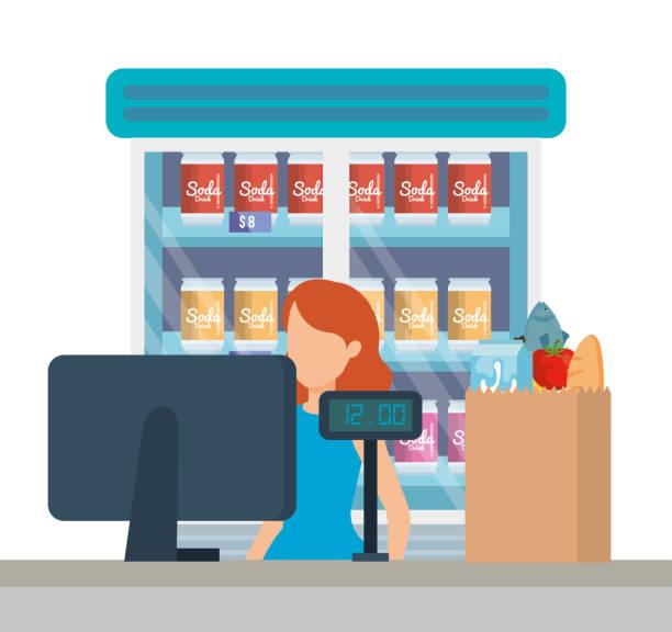 verkäuferin im supermarkt-verkaufspunkt - schrankkorb stock-grafiken, -clipart, -cartoons und -symbole