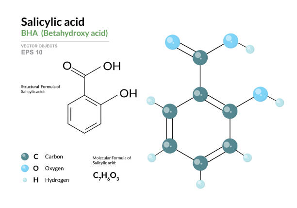 Salicylic acid. BHA Betahydroxy acid. Structural chemical formula and molecule 3d model. Atoms with color coding. Vector illustration Salicylic acid. BHA Betahydroxy acid. Structural chemical formula and molecule 3d model. Atoms with color coding. Vector illustration acetylsalicylic stock illustrations