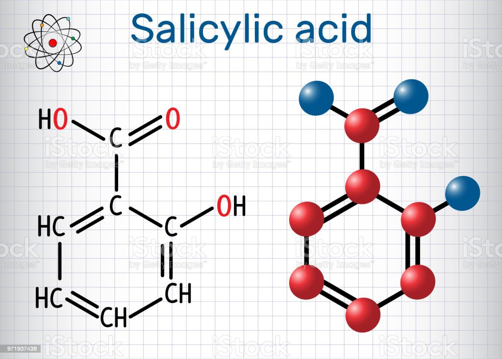 Salicylic acid molecule. It is a type of phenolic acid. Structural chemical formula and molecule model. Sheet of paper in a cage vector art illustration