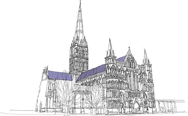 kathedrale von salisbury  - salisbury stock-grafiken, -clipart, -cartoons und -symbole