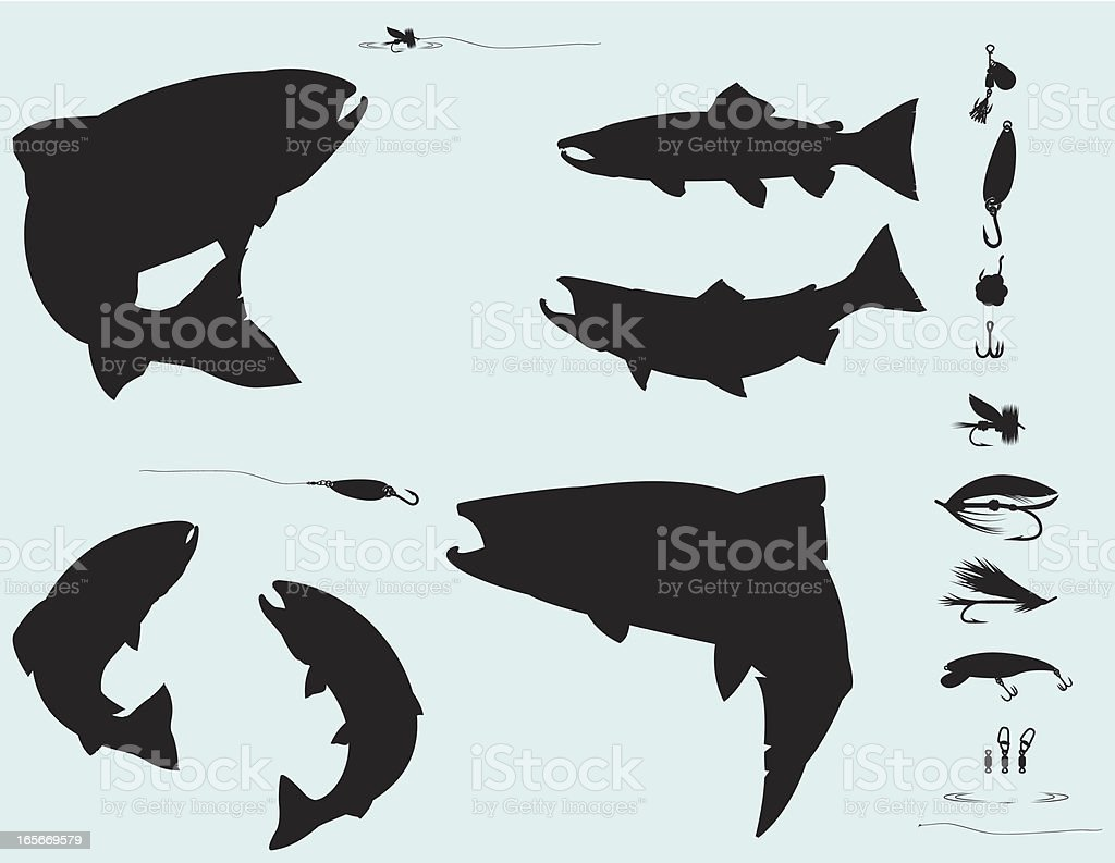 Salmon and Trout Fishing Silhouette Set royalty-free stock vector art