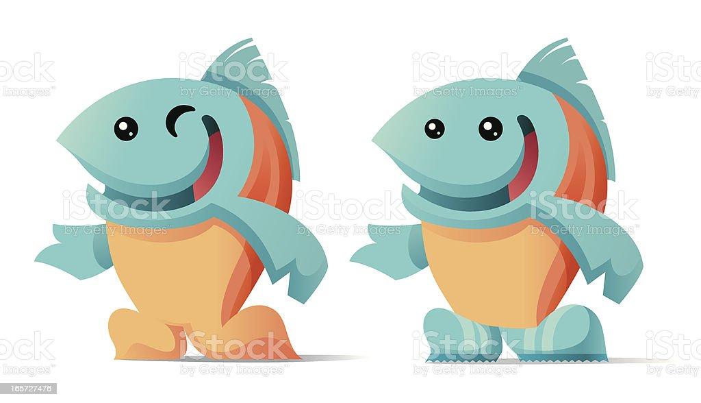 Salmon Character vector art illustration