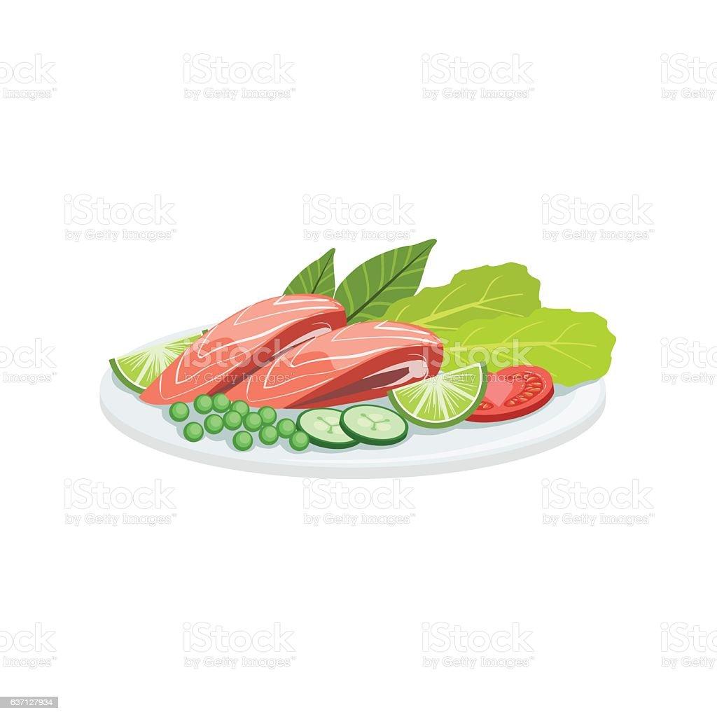 Salmon European Cuisine Food Menu Item Detailed Illustration – Vektorgrafik