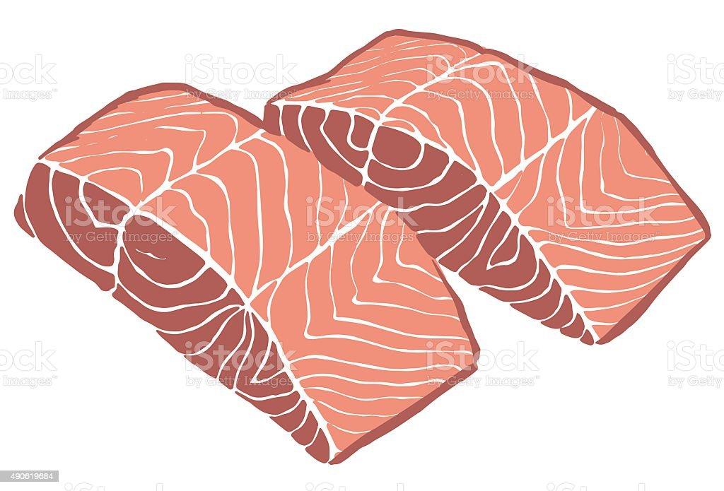 Salmon Filet vector art illustration