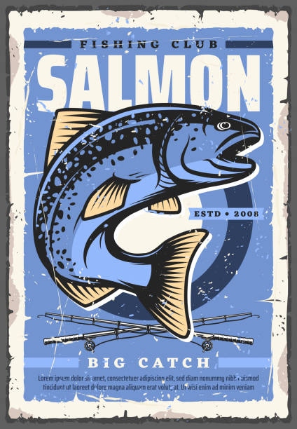salmon fish and fishing rod. fisherman sport club - rybactwo stock illustrations
