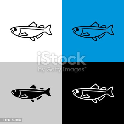 Salmon fish icon. Line style symbol of salmon. Adjustable outline width.