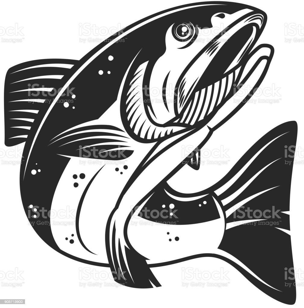 Salmon fish illustration isolated on white background. Design element for label, emblem, sign. vector art illustration