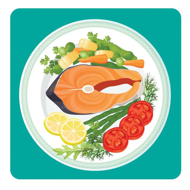 ilustraciones, imágenes clip art, dibujos animados e iconos de stock de rebanada de carne de pescado de salmón y verduras vector ilustración - comida cruda