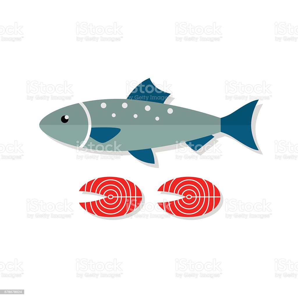 Salmon fish vector flat illustration vector art illustration