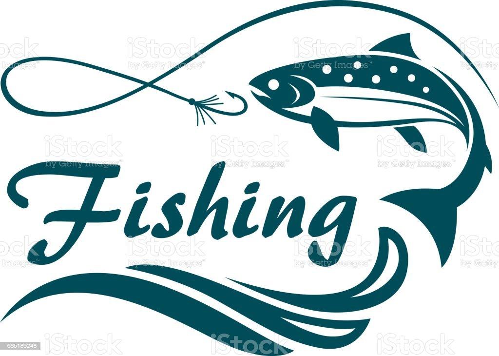 Lachsfischen-emblem – Vektorgrafik