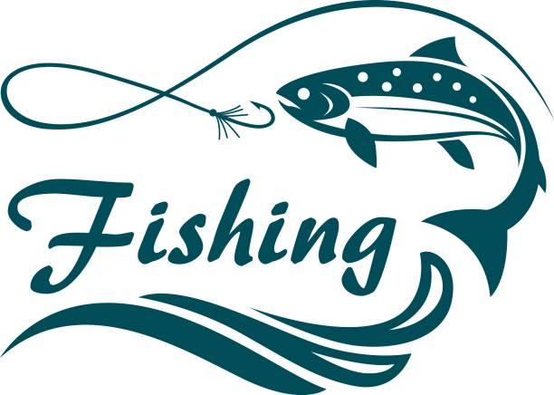 ilustraciones, imágenes clip art, dibujos animados e iconos de stock de emblema de la pesca del salmón - pesca