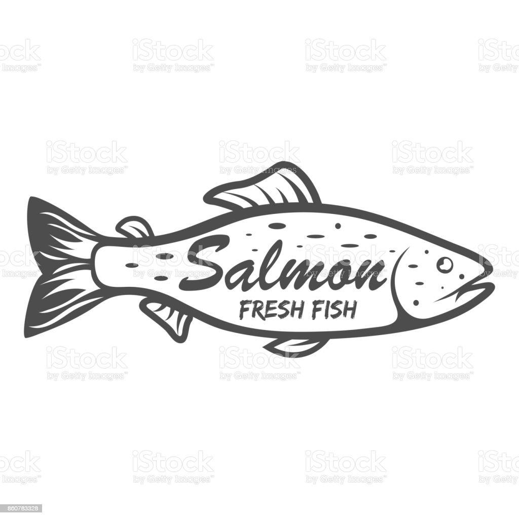 サーモンのアイコン白い背景で隔離の海水魚ベクトル図クリップアート